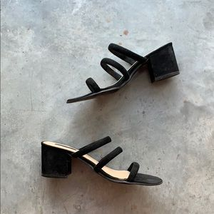 Forever 21 Low Block Heel Strappy Mule Sandals 8.5